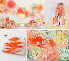 Looks like the right color scheme Baby girl baby shower ideas Watermelon Wedding, Watermelon Mint, Color Inspiration, Wedding Inspiration, Recycle Your Wedding, Colorful Party, Wedding Blog, Wedding Stuff, Wedding Ideas