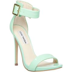Steve Madden Marlenee ($100) ❤ liked on Polyvore featuring shoes, sandals, heels, high heels, sapatos, mint green, ankle tie sandals, patent leather sandals, ankle strap sandals and ankle wrap sandals