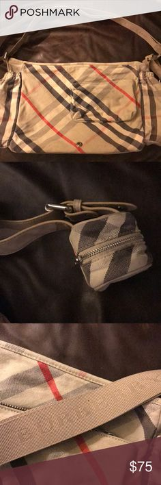 Burberry London Diaper Bag Burberry of London diaper bag, This is an authentic BURBERRY Canvas Nova Check Diaper Messenger Bag. This stylish diaper messenger bag is crafted of classic Burberry nova check canvas and in excellent used condition. I am missing the changing mat. Otherwise very light staining on the bottom interior no rips tears, ready for the next use. Burberry Bags Baby Bags