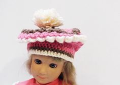 Baby Beret Hand Crocheted in Neopolitan Colors by Yarnettes, $15.00
