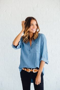 half button chambray shirt, dark skinny jeans