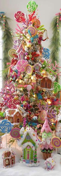 A Candy-land Christmas Tree! Candy Land Christmas, Noel Christmas, Pink Christmas, Winter Christmas, Christmas Wreaths, Christmas Crafts, Christmas Gingerbread, Gingerbread Houses, Christmas 2019