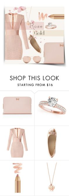 """""""Golden Cinderella"""" by kmcg3 ❤ liked on Polyvore featuring Ted Baker, Balmain, Charlotte Russe, Linda Farrow and rosegold"""