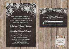 Snowflake Wedding Invitation, Winter Wedding, Chalkboard by SugSpcInvitations