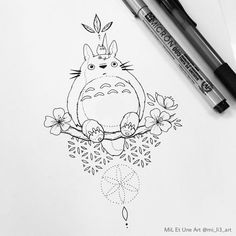 Totoro Source by slontommy Tatuaje Studio Ghibli, Art Studio Ghibli, Studio Ghibli Tattoo, Tattoo Studio, Miyazaki Tattoo, Japan Tattoo, Cute Tattoos, Small Tattoos, Totoro Drawing