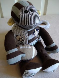 Fleece Menagerie: Memory Monkey made from outgrown baby clothes. Funky Friends Factory pattern