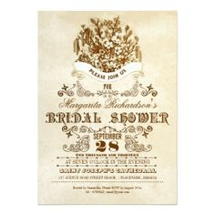 floral ancient typography bridal shower invitation