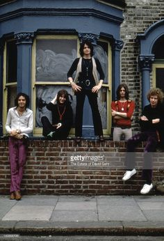Progressive rock band Yes (L - R Peter Banks, Chris Squire, Jon Anderson, Tony Kaye, Bill Bruford) pose for a portrait in July 1969 in London, England.