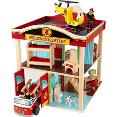 Fire Station Set by KidKraft at LuxuryLamb. Shop for Fire Station Set from Play-Time / Doll Houses & Playsets collection at affordable prices. Wooden Playset, Wooden Toys, 3 Year Old Boy, Fire Trucks, Kids Furniture, Doll Furniture, Jelsa, Toy Chest, Wood Projects