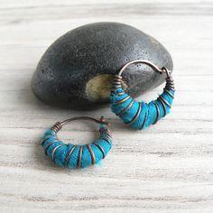 Tiny Hoop Earrings, Teal, Silk Wrapped Hoops, Dark Copper Hoops, Small Bohemian Earrings