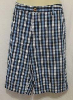 528e9326 Tommy Bahama Shorts 38 40 Mens New Blue White Castillo Check Plaid 10.5  Inseam #TommyBahama