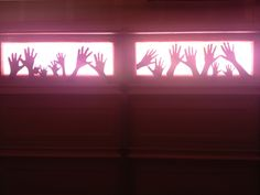 Creepy Hands On The Garage Doors Begging To Get Out Halloween Decor. So  Simple