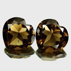 Pair 2 pcs NATURAL smoky quartz HEART 12x12 mm by GEMSONLY on Etsy