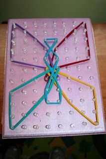 Preschool At Home: DIY Easy Homemade Geoboard Make Math Fun For Kids! From Pink and Green Mama Blog