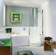 Bathroom. Spectacular and Modern Design Bathroom Shower. Grey and White Modern Bathroom Shower with Wall Mounted White Walk in Bathtub Liner and Wall Mounted Round Chrome Shower Head and Handle plus Wall Mounted Chrome Shower Faucet and also Lime Green Square Wall Mounted Shelves with Wall Mounted Lime Green and Brown Vanity Sink plus Wall Mounted Brown Long Wooden Chair