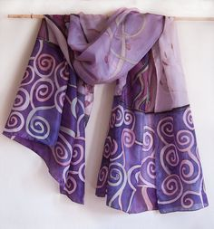 Violet Spirals and Buds. Hand painted silk scarf. by klaradar, €95.00
