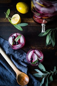 Blueberry Gin and Sage Punch -A refreshing make ahead, holiday punch, with lemon and prosecco, sparkling and effervescent. | www.feastingathome.com #SippingThroughTheSeason