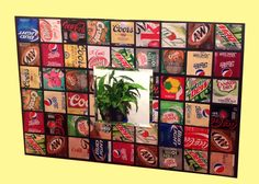 Recycled pop can art. Cut 3-inch squares from pop cans with a cheap pair of scissors and place on black matt board with Zot glue dots. Add a mirror if you like. I got this Idea from another pinner. https://www.etsy.com/shop/beforethelandfill?ref=exp_listing
