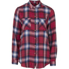 TopShop Check Shirt ($44) ❤ liked on Polyvore featuring tops, shirts, flannel, red, shirts & tops, oversized tops, checked shirt, oversized flannel shirt and checkered shirt