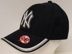 New York Yankees Ball Cap Hat Black White Silver Red MLB Baseball Genuine NY  Fan   490355038935