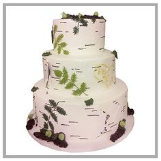 A beautiful birch tree cake for a gorgeous outdoor wedding!