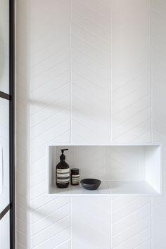 It's all in the detail.Monastir White Matt Chevrons looking pretty smart 🖤🖤 Chevron Bathroom, Chevron Tile, Chevron Floor, White Bathroom Tiles, Stone Bathroom, Bathroom Floor Tiles, Bathroom Renos, Small Bathroom, Master Bathroom