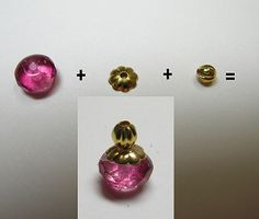 perfume bottles - many more examples of finding combinations - DO NOT USE zap-a-gap or crazy  glue type adhesives (will cloud crystal beads)