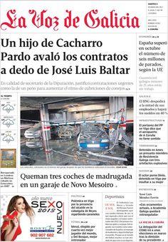 Titulares y Portada del 8 de Enero de 2013 del Periodico La Voz de Galicia ¿Que te parecio este día?