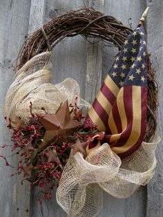 Americana Wreath, Patriotic Wreath, Fourth of July, Tea Stained Flag Wreath Patriotic Wreath, Patriotic Decorations, 4th Of July Wreath, Flag Wreath, Patriotic Crafts, Horseshoe Wreath, Wreath Crafts, Diy Wreath, Grapevine Wreath