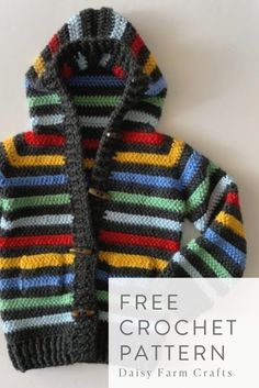 Free crochet pattern - colorful stripes sweater.