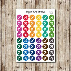 Airplane Sticker, Travel Sticker, Erin Condren, Planner Sticker, Reminder ECLP Rainbow Sticker Travel Reminder Repositionable