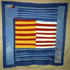 """""""Work Clothes"""" quilt by Nancy Jackson: """"Ten years I saved jeans. Finally I get to play with them. Recipe: Blue jeans hand cut into strips,cheddar, muslin (tea dyed), antique turkey red. Recycled Clothing, Recycled Denim, Gees Bend Quilts, Creative Circle, Recycle Jeans, Old Jeans, Quilt Bedding, Textile Artists, Work Clothes"""