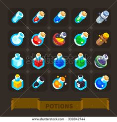 Fantasy  game icons set: different potions, health potion, haste potion, power-up potion, empty beakers and flasks.  Flat vector illustration stock set.