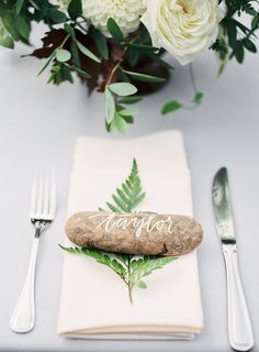 place settings - photo by Amanda K Photography http://ruffledblog.com/garden-pacific-northwest-wedding