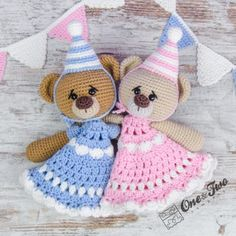 Mia and Owen the Birthday Bears Security Blanket Crochet Pattern by One and Two Company