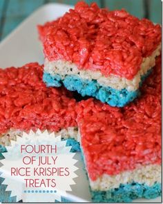 Fourth of July Rice Krispies Treats and other red, white and blue sweet treats