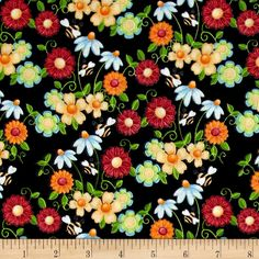 Birds n Bees Floral Black from @fabricdotcom  Designed by Shelly Comiskey for Henry Glass & Co., this cotton print is perfect for quilting, apparel and home decor accents. Colors include black, blue, white, red, orange, yellow and green.