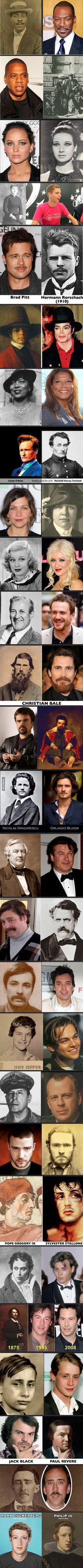 Celebrity Reincarnations?? much more celebrities Lookalikes! Amazing!! #lookalike via @9GAG #famous #look-alike