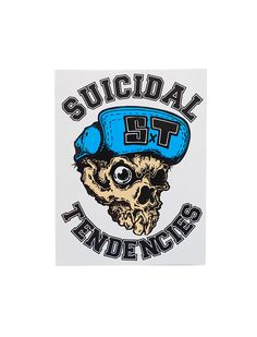 """Suicidal Tendencies ST Hat sticker.  Size: H 13.5 cm (5.25"""") x W 10 cm (4"""")  Free Shipping to anywhere in Australia."""