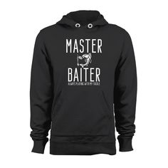 MASTER BAITER Hook Lure Funny Humor Fishing Bass  Hoodie Fisherman Tackle Box