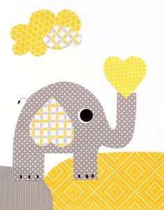 Yellow Grey Elephant Heart Nursery Artwork Print Baby Room Decoration Kids Room Decor Yellow and Grey Nursery // Gifts Under 20 art wall