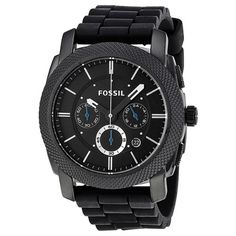 Fossil Men's Black Silicone Bracelet Black Analog Dial Chronograph Watch Elegant Watches Fossil Watches For Men, Rolex Watches For Men, Sport Watches, Cool Watches, Men's Watches, Wrist Watches, Herren Chronograph, Black Stainless Steel, Shopping