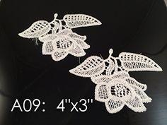 A09 Wholesale Lace ,Lace Appliques,white.wedding Applique, ONE Pair Lace Appliques, Embroidered Appliques A09