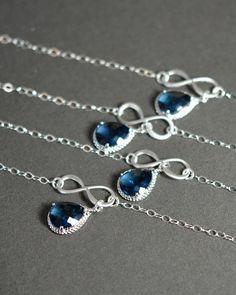 Sapphire blue wedding jewelry Infinity by thefabwedding2 on Etsy, $35.99