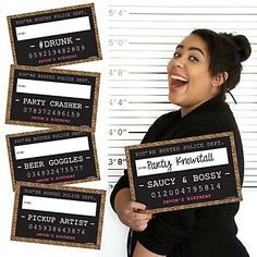like the idea of signs!  Chic Pink, Black and Gold Birthday Party Mug Shots - 20 Piece Birthday Party Photo Booth Props Kit | BigDotOfHappiness.com
