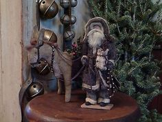 ~Primitive Santa with his Folk Art Donkey ~bells~