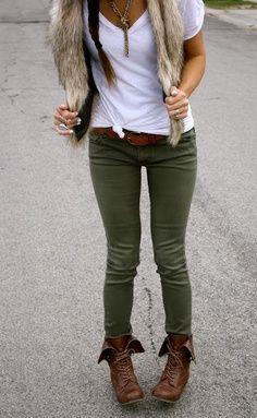 olive green, fur vest & lace up boots