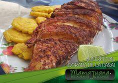 """Un rico pescado frito acompañado de unos exquisitos tostones Al Estilo """"Mamajuana Restaurante & Lounge"""", Es un plato exquisito y delicioso."""