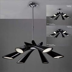 Mantra Pop 6 Light Black Semi Flush Convertible Ceiling Fitting M0900 GBP564 Red