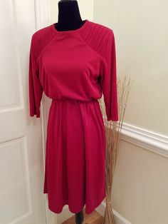 b4771a4ab2c Women s Vintage BLAIR 3 4 Sleeve Cranberry Red Casual Work Dress Size 8P   fashion  clothing  shoes  accessories  vintage  womensvintageclothing (ebay  link)